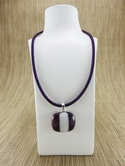 Purple and white striped glass pendant