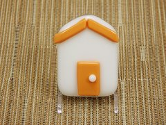 Beach hut glass fridge magnet - white with orange trim