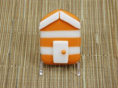 Beach hut glass fridge magnet - orange/white stripes with white trim