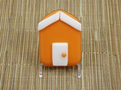 Beach hut glass fridge magnet - orange with white trim
