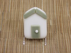 Beach hut glass fridge magnet - white with olive green trim