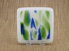 Tropical handmade glass coasters (set 4)