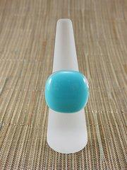Blue (light) square glass ring
