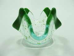 Green and clear glass small bowl/candle holder