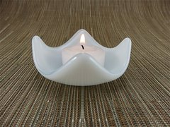 White glass small curved candle holder