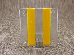 Yellow/clear glass coaster - 2 stripe