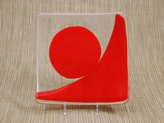 Red (dark) and clear glass curved square plate