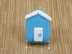 Beach hut glass fridge magnet - sky blue with white trim