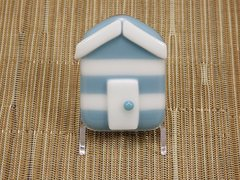 Beach hut glass fridge magnet - steel blue/white stripes with white trim