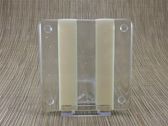 Ivory/clear glass coaster - 2 stripe