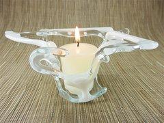 Cream and white coral handmade glass bowl