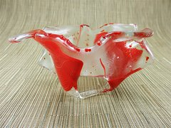 Flame red patterned handmade glass bowl