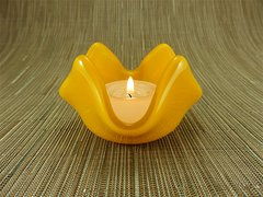 Yellow glass small bowl or candle holder