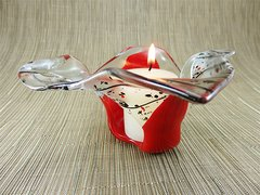 Flame red and black patterned handmade glass bowl