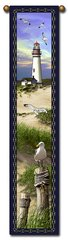 """Tapestry - """"Beach - Lighthouse"""" - Hanging Bell Pull, 8.5x40"""