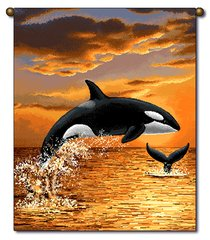 """Tapestry - """"Beach - Sunset Orca"""" - Small Banner, 13x18"""