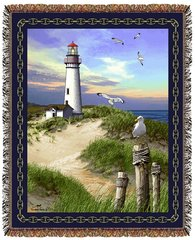 "Tapestry - ""Beach - Lighthouse"" - Afghan, 53x67"
