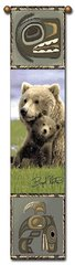 """Tapestry - """"Bears - Boyd Norton Grizzlies"""" - Hanging Bell Pull, 8.5x40"""