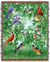 "Tapestry - ""Birds - Backyard Birds"" - Afghan, 53x67"