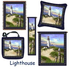 "Tapestry Set - ""Beach - Lighthouse"" - Set of 5 NOW ON SALE! (Afghan, Pillow, Large Wall Hanging, Bell Pull and Tote Bag)"