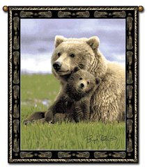 """Tapestry - """"Bears - Boyd Norton Grizzlies"""" - Large Wall Hanging, 27x36"""