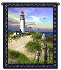 """Tapestry - """"Beach - Lighthouse"""" - Large Wall Hanging, 27x36"""