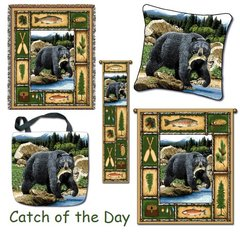 "Tapestry Set - ""Bears - Catch of the Day"" - Set of 5 NOW ON SALE! Afghan, Pillow, Bell Pull, Tote Bag, Large Wall Hanging"