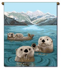 """Tapestry - """"Beach - Otters"""" - Small Banner,13x18"""