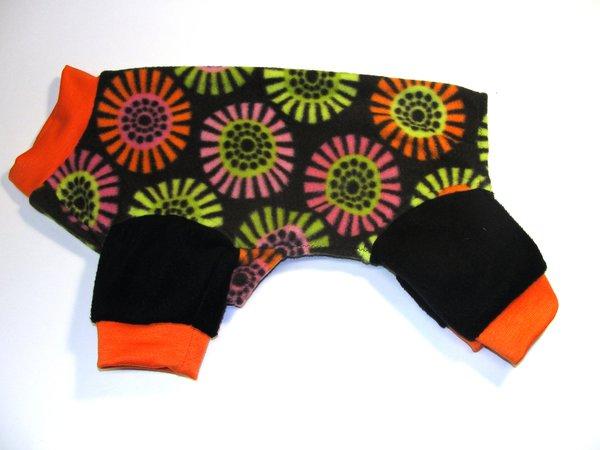 Bright Floral on Black Fleece Pet Jammies - Roomy Small