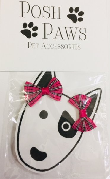 Hot Pink Plaid Pet Hair Bows