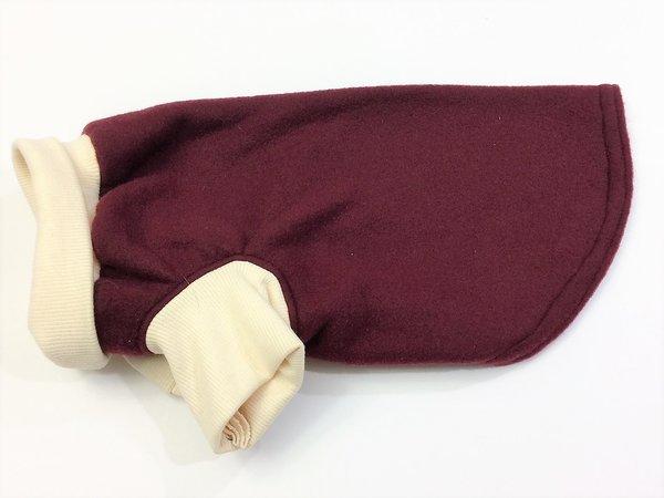 Maroon and Cream Fleece Pet Shirt - Standard Medium