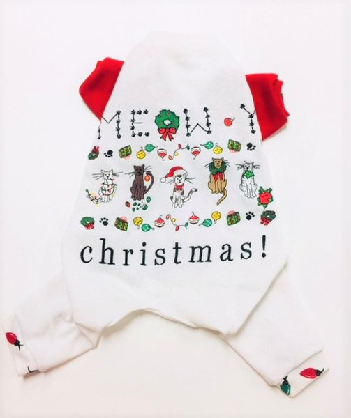 Meowy Christmas Sweatshirt Pet Jammies - Standard Medium