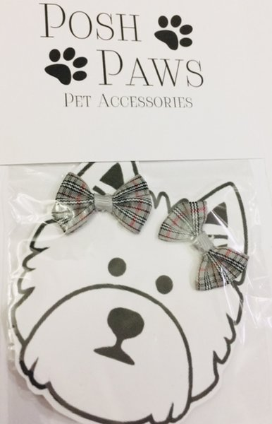 Gray Plaid Pet Hair Bows