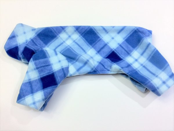Blue Plaid Fleece Pet Jammie - Small, Medium, Large
