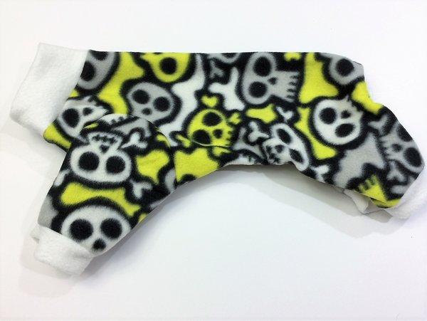 Neon Yellow Skulls Fleece Pet Jammie - Small, Medium