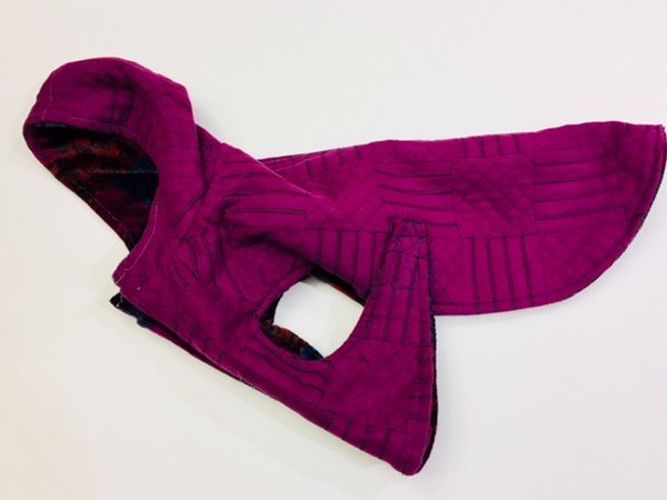 Soft Purple Velour Lined Hooded Pet Jacket - Medium