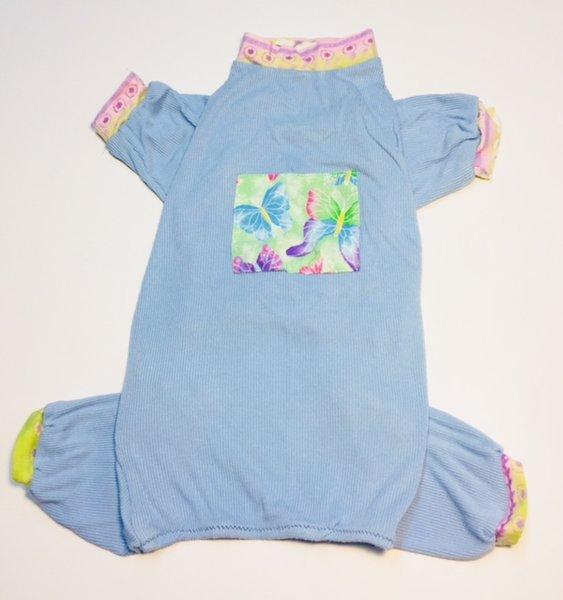 Light Blue Butterflies Rib Knit Jammie - Roomy Medium