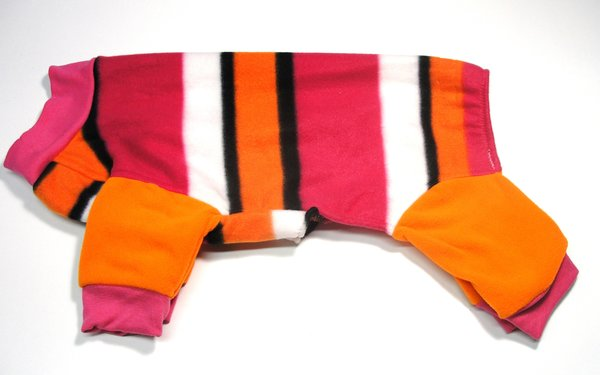 Pink and Orange Stripes Fleece Jammies-Roomy Fit Assorted Sizes