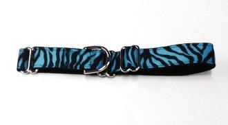 Adjustable Martingale Collar - Blue Zebra - Large