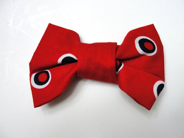 Red with Navy and White Dots Pet Bow Tie