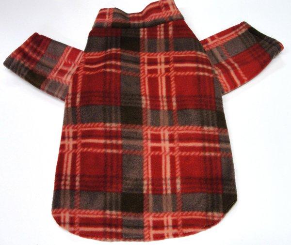 Red Plaid Fleece Cardigan Style Coat - X Large
