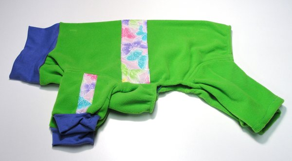 Green with Sparkly Butterflies Fleece Jammies - Roomy Assorted Sizes