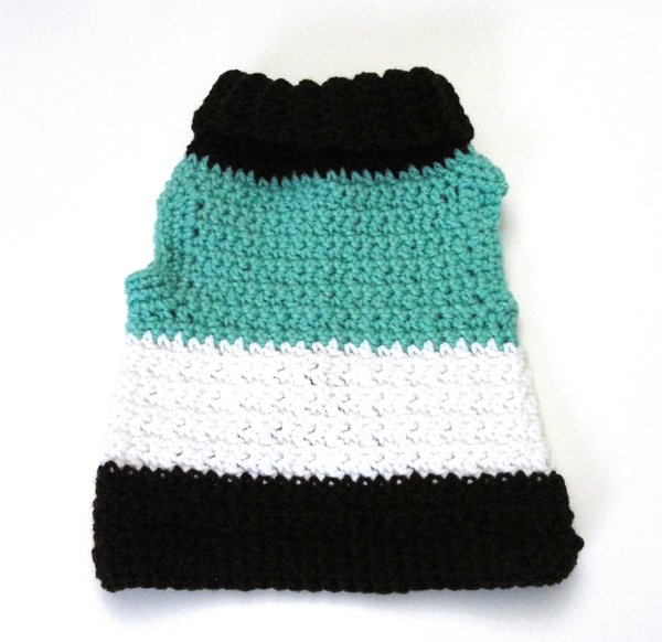 MEDIUM | Brown, Turquoise and White Pet Sweater
