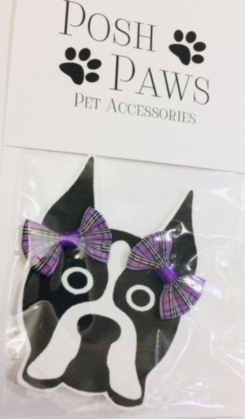 Purple Plaid Pet Hair Bows