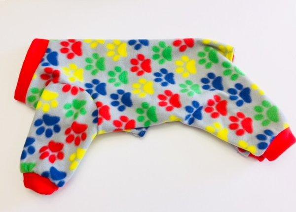 Colorful Paw Prints Fleece Pet Jammie - Small, Medium, Large