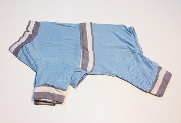 Light Blue and Gray Trim Rib Knit Tee Jammie - Roomy Small