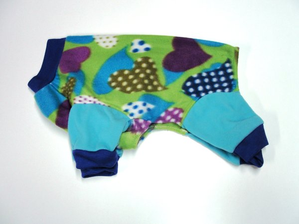 Dotted Hearts Fleece Jammies - Roomy Assorted Sizes