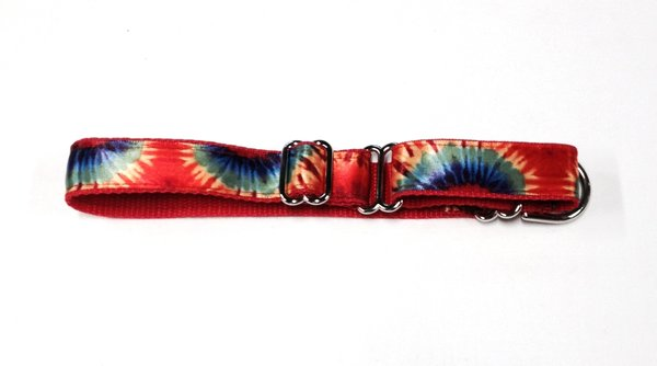 Adjustable Martingale Collar - Red Tie Dye - Large