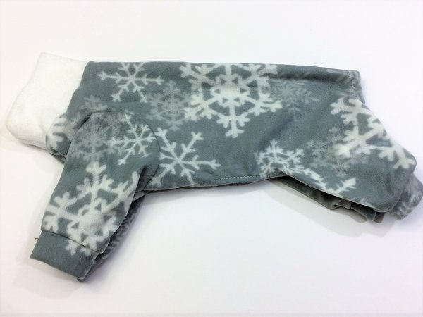 Gray Snowflake Fleece Pet Jammie - Small, Medium