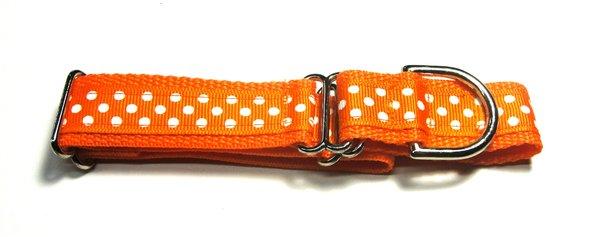 Adjustable Martingale Collar - Orange and White Dots - Medium